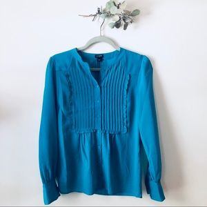 J. Crew blue blouse with detailing